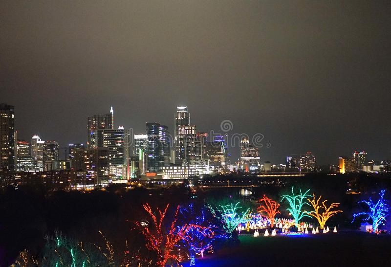 Austin, Texas and Zilker Park at Christmas royalty free stock image