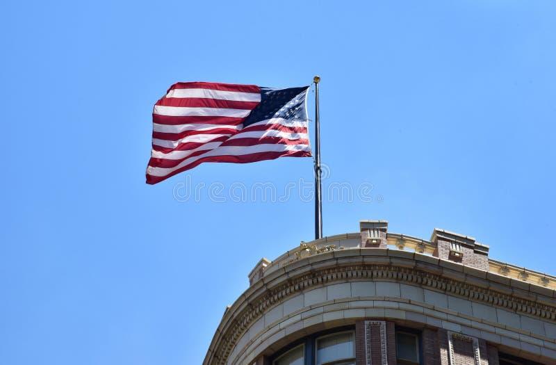 austin texas Zlany stan Ameryka Sierpień 2015 Flaga amerykańska o zdjęcie stock