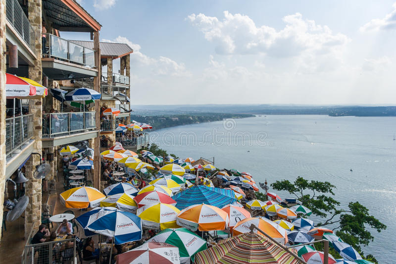 Austin, TX/USA - circa April 2008: Panorama of Lake Travis from The Oasis restaurant in Austin, Texas stock images