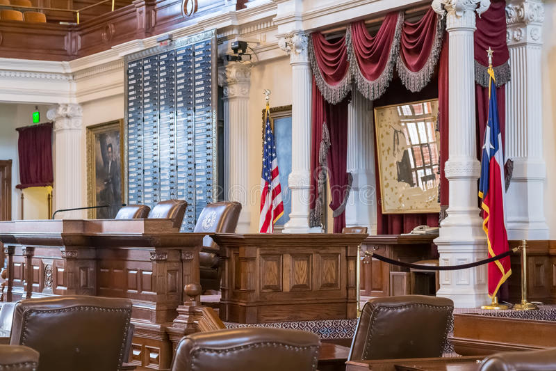 Austin, TX/USA - circa febrero de 2016: Cámara de cámara de los representantes en Texas State Capitol en Austin, TX fotografía de archivo
