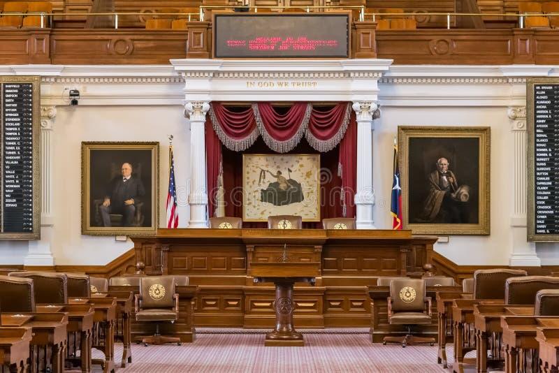 Austin, TX/USA - circa febrero de 2016: Cámara de cámara de los representantes en Texas State Capitol en Austin, TX imágenes de archivo libres de regalías