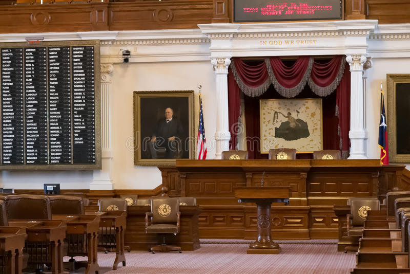 Austin, TX/USA - circa Februari 2016: Huis van Afgevaardigdenkamer in Texas State Capitol in Austin, TX stock afbeelding