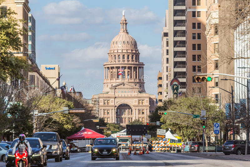 Austin, TX/USA - circa February 2016: Texas State Capitol seen from Congress Avenue in Austin, TX royalty free stock photo