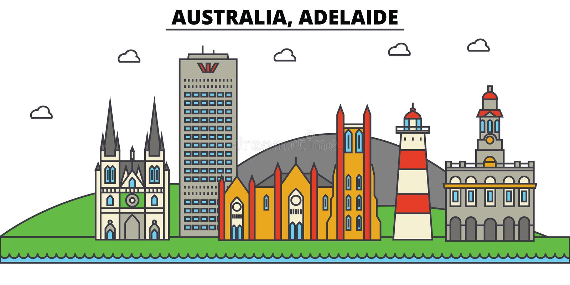 Austrália, Adelaide Arquitetura da skyline da cidade editable ilustração do vetor