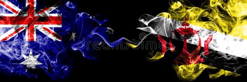 Austrália contra Brunei Darussalam, bandeiras místicos fumarentos Bruneian colocadas de lado a lado Grosso colorido de seda fuma  imagem de stock