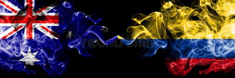 Austrália contra Colômbia, bandeiras místicos fumarentos colombianas colocadas de lado a lado Grosso colorido de seda fuma a comb ilustração do vetor
