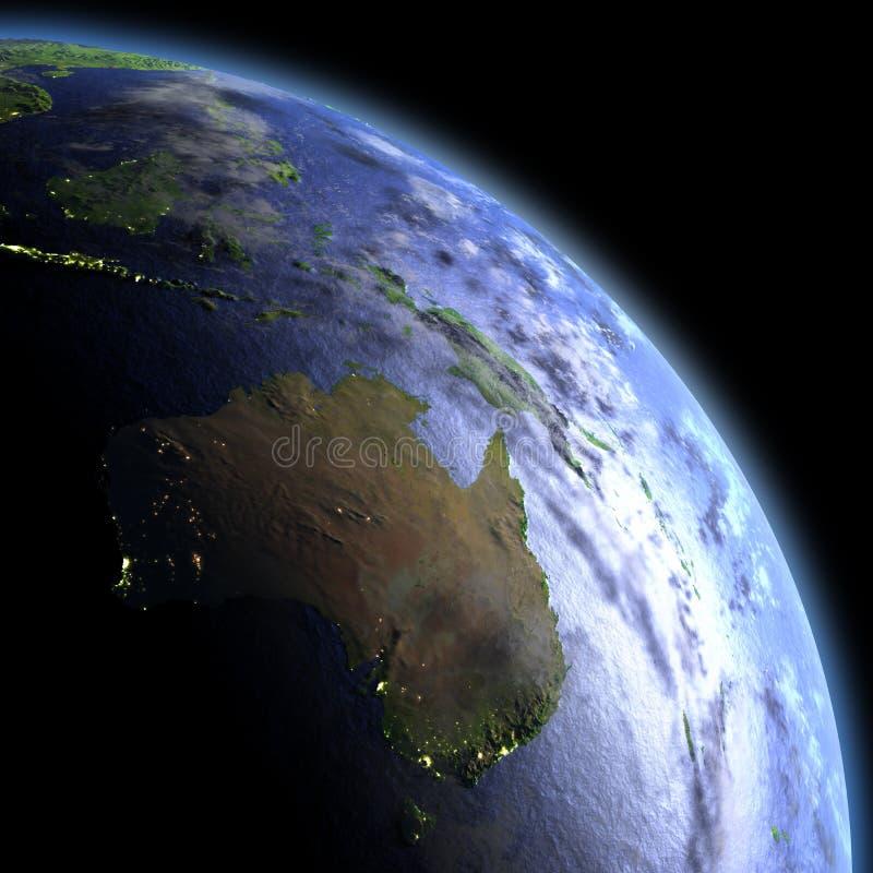 Austrália do espaço no alvorecer ilustração stock