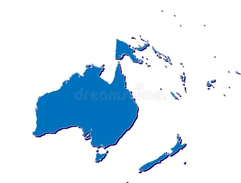 Austrália e Oceania traçam em 3D ilustração do vetor