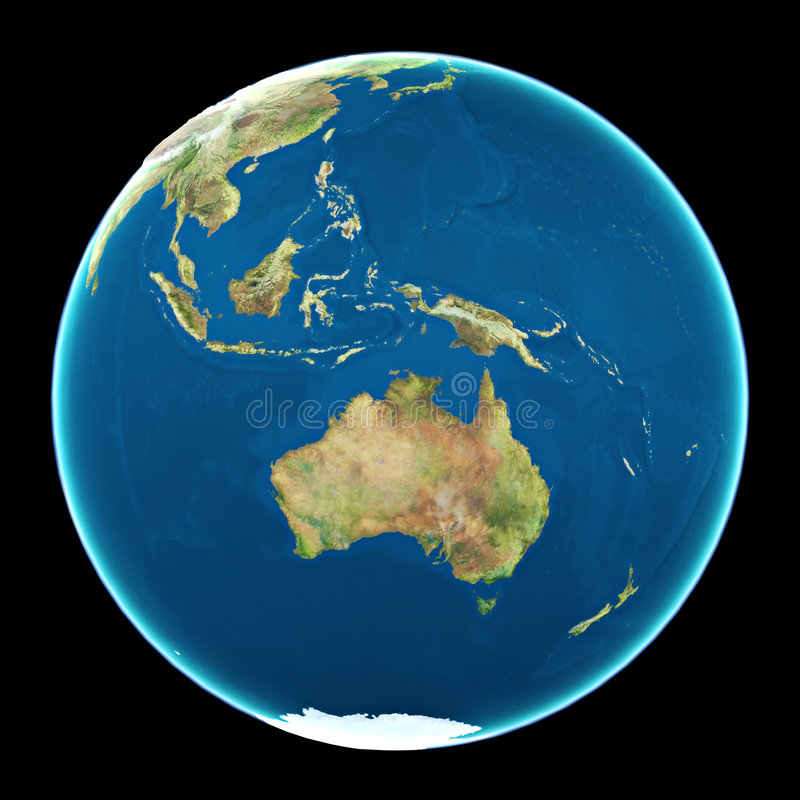 Austrália na terra do planeta ilustração do vetor