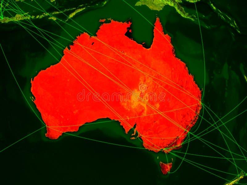 Austrália no mapa digital ilustração stock