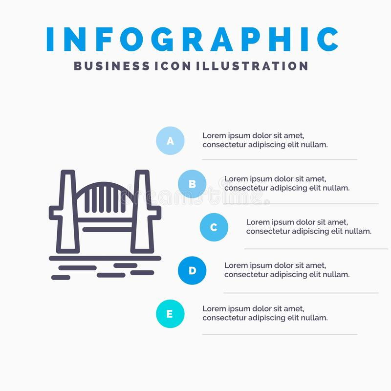 Austrália, ponte, grupos da cidade, porto, ícone de Sydney Line com fundo do infographics da apresentação de 5 etapas ilustração stock
