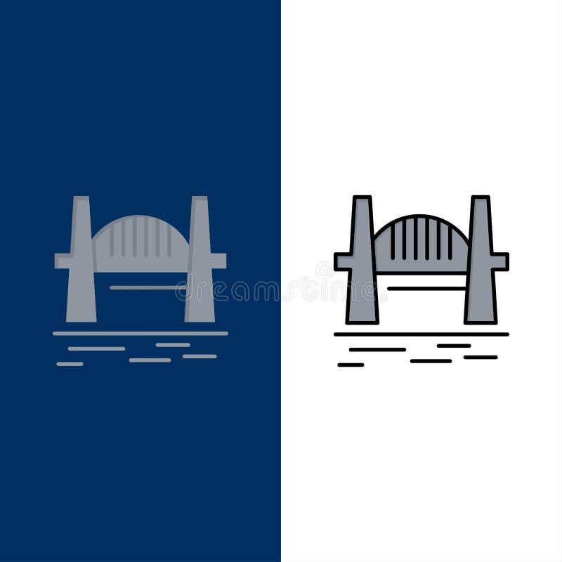 Austrália, ponte, grupos da cidade, porto, Sydney Icons O plano e a linha ícone enchido ajustaram o fundo azul do vetor ilustração stock