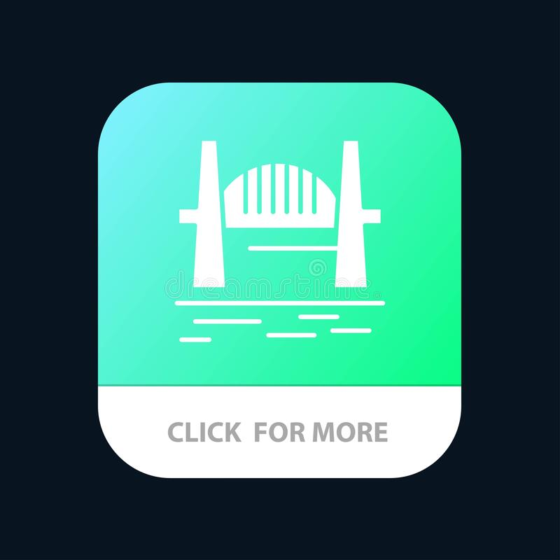 Austrália, ponte, grupos da cidade, porto, Sydney Mobile App Button Android e do Glyph do IOS versão ilustração do vetor