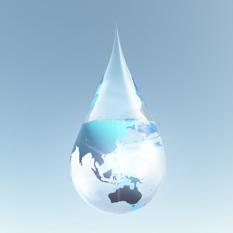 Austrailia i Azja wody kropla ilustracja wektor