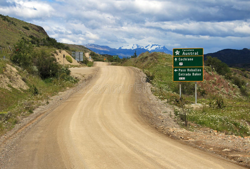 Austral Landstraße Carretera, Ruta 7, mit Verkehrsschild, Chile lizenzfreies stockfoto