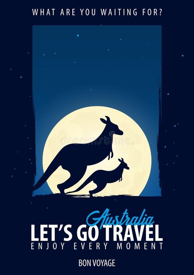 australasian tid att löpa Resa tur, semester Månebakgrund Bon Voyage stock illustrationer