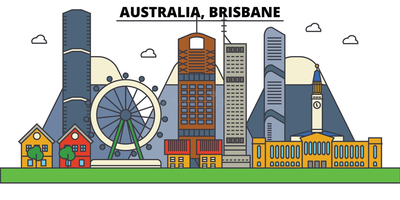 Australië, Brisbane De architectuur van de stadshorizon royalty-vrije illustratie