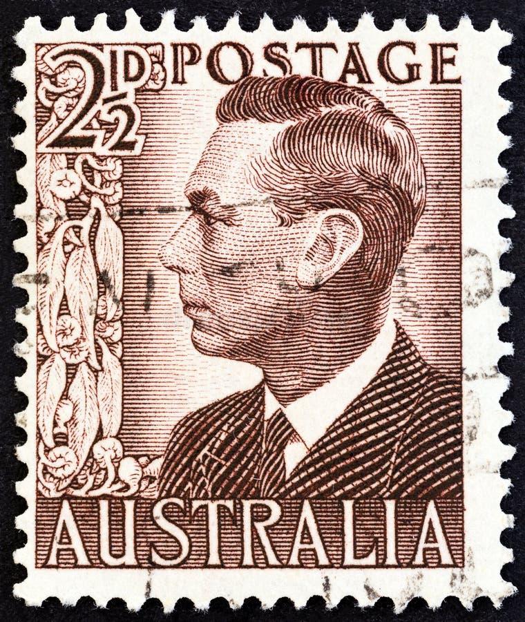 AUSTRALIË - CIRCA 1950: Een zegel in Australië wordt gedrukt toont Koning George VI, circa 1950 die royalty-vrije stock fotografie