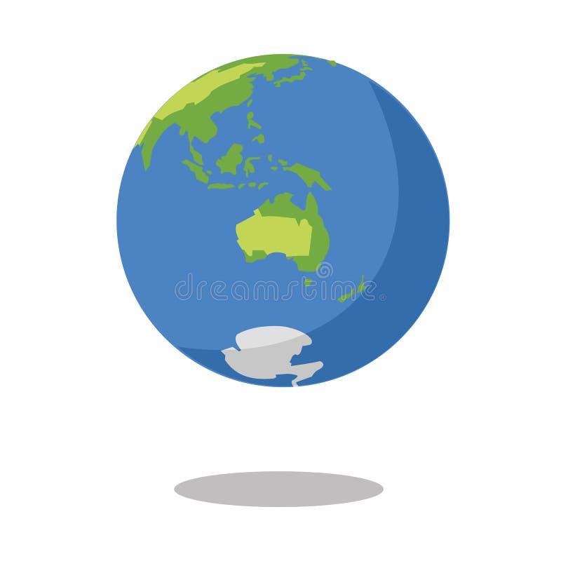 Australië dat op de witte Vectorillustratie van het achtergrond Vlakke aardepictogram wordt geïsoleerd royalty-vrije illustratie