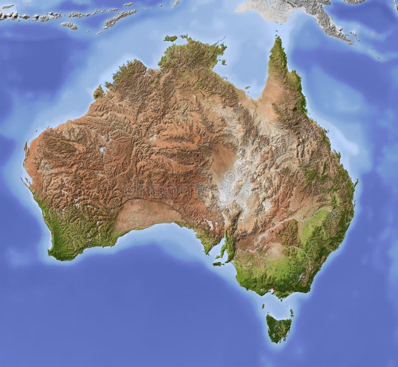 Australië, in de schaduw gestelde hulpkaart stock foto