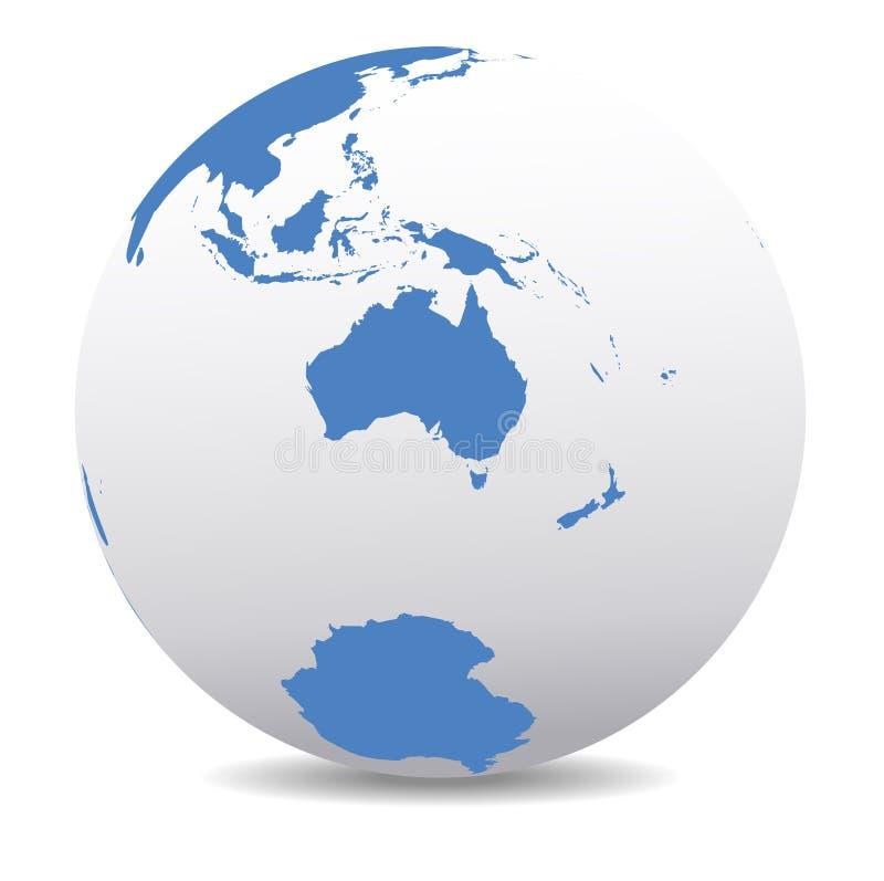 Australië en Nieuw Zeeland, Antarctis, Antarctica, Globale Wereld royalty-vrije illustratie