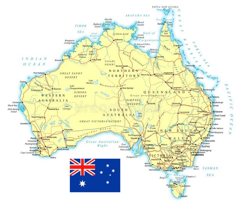 Australië - gedetailleerde topografische kaart - illustratie stock illustratie