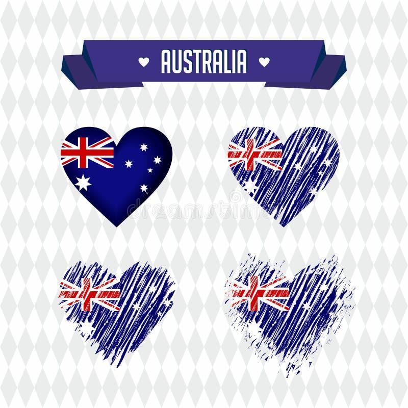 australië Inzameling van vier vectorharten met vlag Hartsilhouet