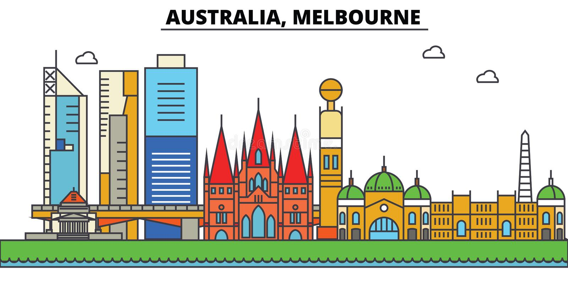 Australië, Melbourne De architectuur van de stadshorizon stock illustratie