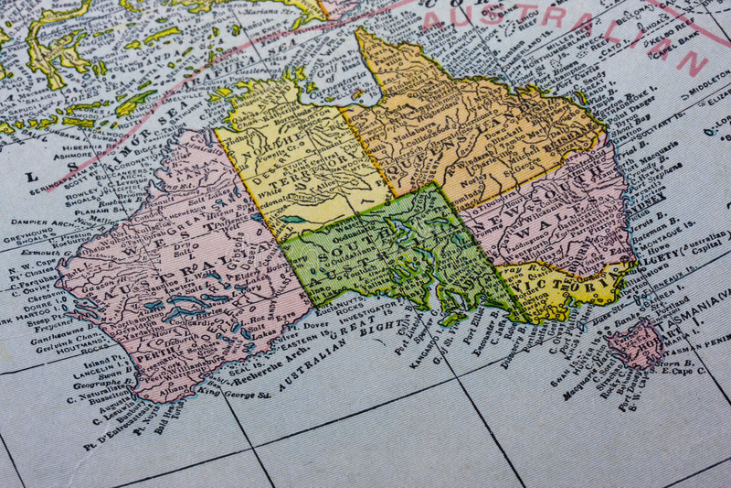 Australië met de kaart van Tasmanige royalty-vrije stock afbeeldingen