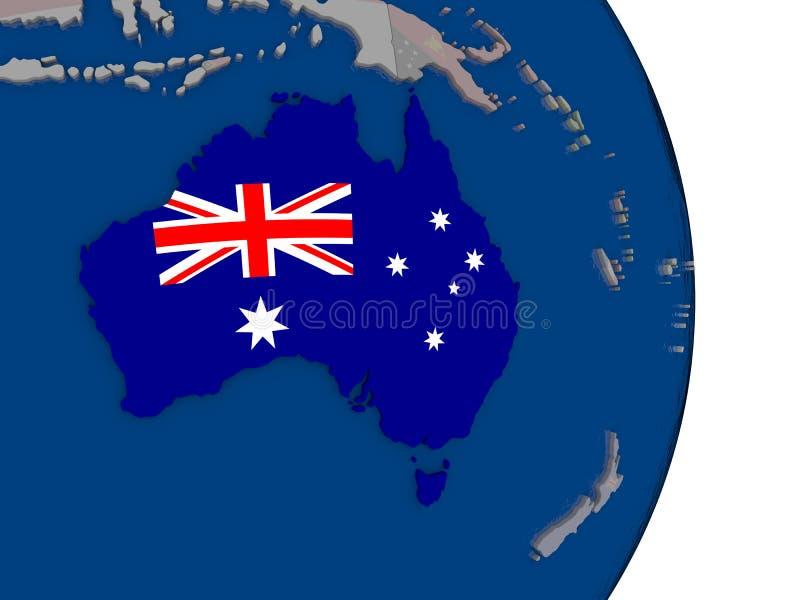 Australië met zijn vlag royalty-vrije illustratie