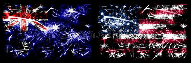 Australië, Ozzie vs. Verenigde Staten, Amerika, VS Nieuwjaar viering mousserende vuurwerkvlaggen concept achtergrond royalty-vrije stock afbeeldingen