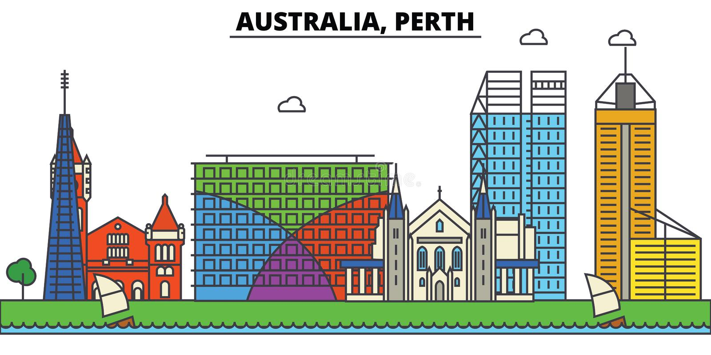 Australië, Perth De architectuur van de stadshorizon editable royalty-vrije illustratie