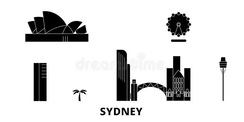 Australië, reeks van de de reishorizon van Sydney City de vlakke Australië, zwarte de stads vectorillustratie van Sydney City, sy vector illustratie