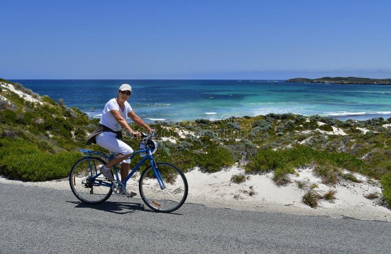 Australië, Rottnest-Eiland, fietser stock afbeelding