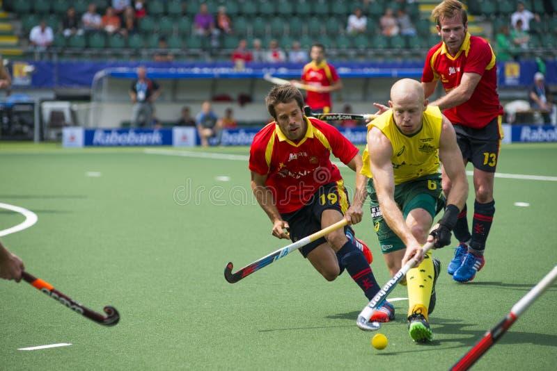 Australië slaat Spanje tijdens het Wereldbekerhockey 2014 royalty-vrije stock foto