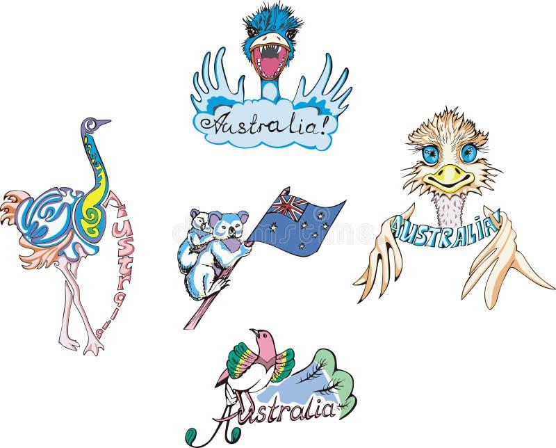 Australië - struisvogel en koala vector illustratie