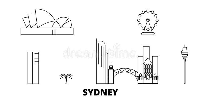Australië, Sydney City-de horizonreeks van de lijnreis Australië, Sydney City-de vectorillustratie van de overzichtsstad, symbool royalty-vrije illustratie