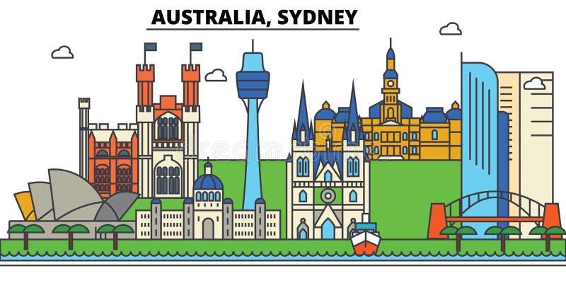 Australië, Sydney De architectuur van de stadshorizon editable royalty-vrije illustratie
