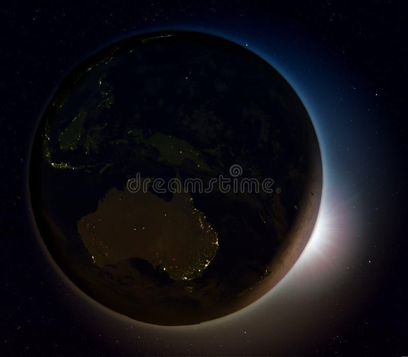 Australië van ruimte bij nacht vector illustratie