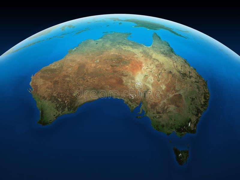 Australië van ruimte wordt gezien die