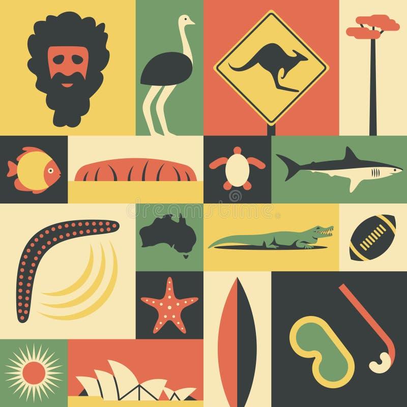 Australië, vector vlakke illustratie, pictogramreeks, oriëntatiepunt Mens, struisvogel, verkeersteken, boom, vissen, berg, schild stock illustratie