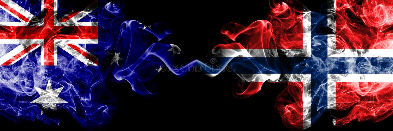 Australië versus Noorwegen, Noorse rokerige zij aan zij geplaatste mysticusvlaggen Dik gekleurde zijdeachtige rookcombinatie nati royalty-vrije illustratie