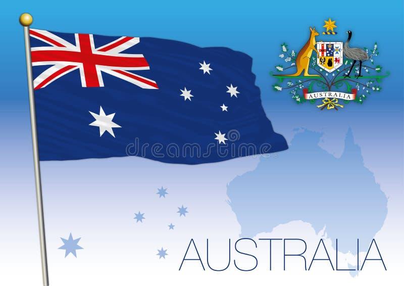 Australië, vlag van de staat en het wapenschild royalty-vrije illustratie