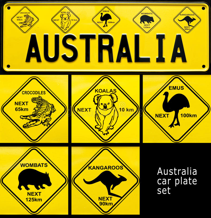 Australia. Collage of souvenir car plate with Australia word and Australian typical animals icons royalty free stock photos