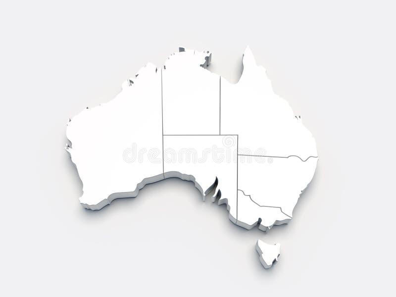 Australia 3D white map on gray vector illustration