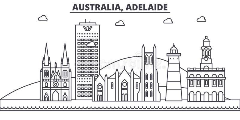 Australia, Adelaide architektury linii linii horyzontu ilustracja Liniowy wektorowy pejzaż miejski z sławnymi punktami zwrotnymi, ilustracja wektor