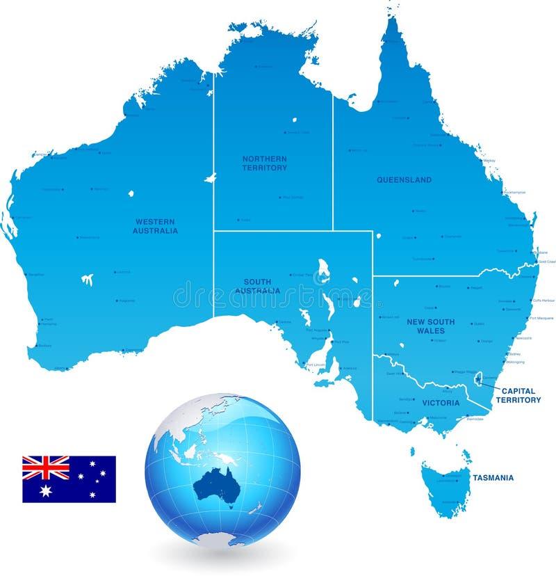 Australia Administracyjnej mapy set ilustracji