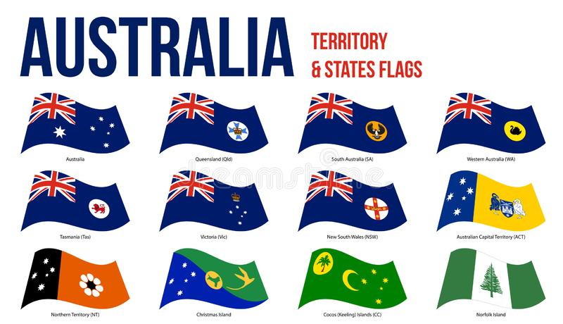 Australia All States And Territory Flags Waving Vector Illustration on White Background stock illustration