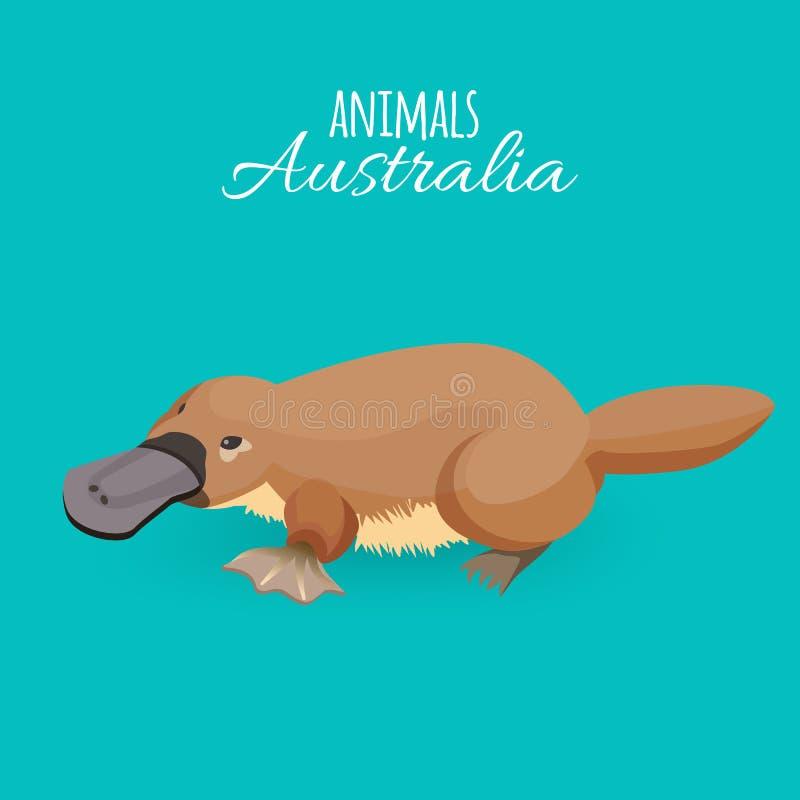 Australia animal brown crawling duckbilled platypus isolated on azure background stock illustration