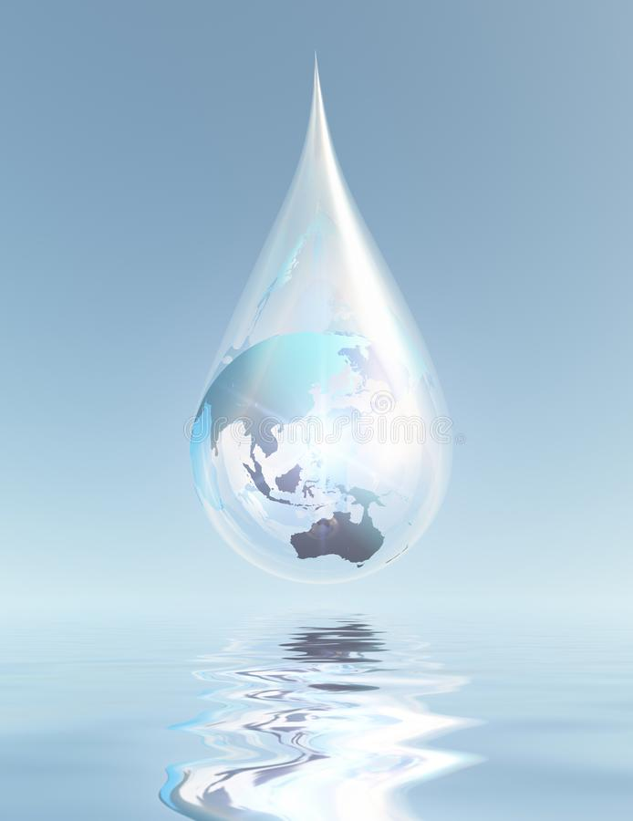 Earth Water Resources. Australia and Asia droplet. Earth Water Resources vector illustration
